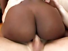 Ebony girl\'s interracial threesome sex