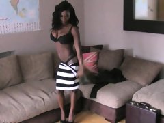 Slim amateur ebony sucks white cock